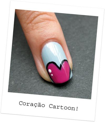 coração cartoon nail art