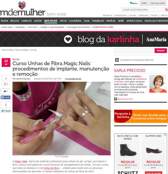 Curso Unhas de Fibra Magic Nails  procedimentos de implante  manutenção e remoção   Blog da Karlinha   Bem estar   MdeMulher   O portal da Mulher brasileira   Editora Abril