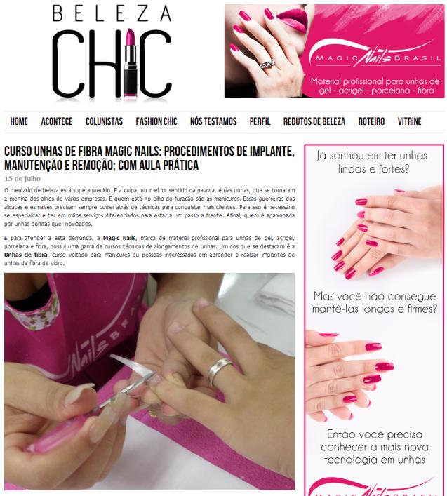 Curso Unhas de Fibra Magic Nails  procedimentos de implante  manutenção e remoção  com aula prática   Beleza Chic