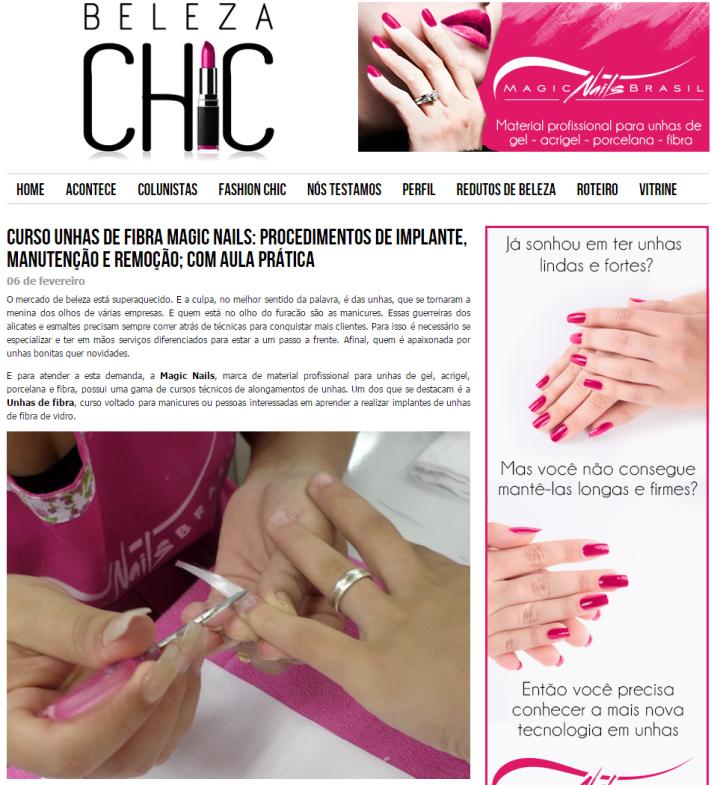 Curso Unhas de Fibra Magic Nails  procedimentos de implante, manutenção e remoção; com aula prática - Beleza Chic